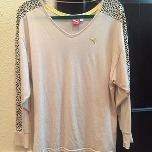 Puma Long Sleeve Tee Leopard Shirt Cream